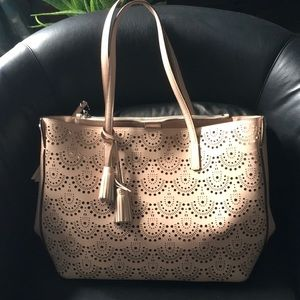 Laser-Cut Blush Leather Tote